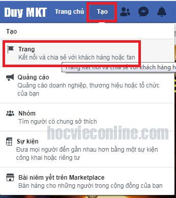 Cách tạo trang facebook