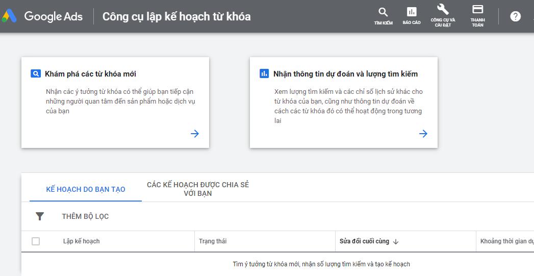 Công trụ tra từ khóa bằng google keyword planner