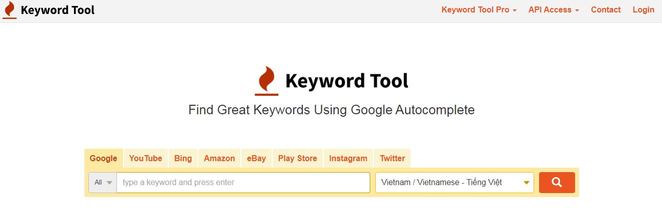 Công cụ tra tư khóa từ trang keywordtoolio